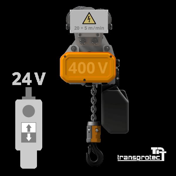 Elektrokettenzug 400 V mit 24-V-Steuerung + Elektrofahrwerk 2