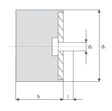 Gummi-Metall-Element, zylindrisch mit einem Gewindebolzen