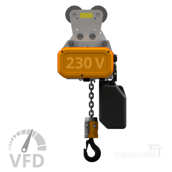 Elektrokettenzug, 230 V, mit Frequenz-Umrichter-Steuerung (VFD), mit Laufkatze