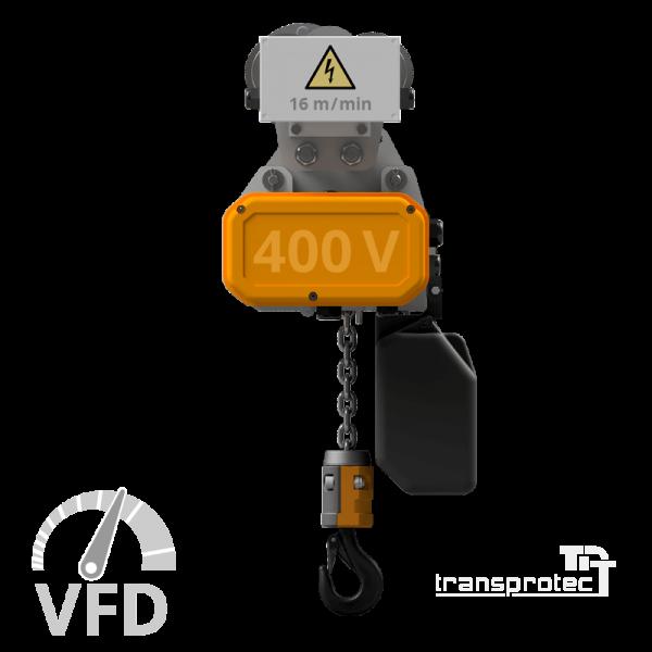 Elektrokettenzug, 400 V, mit Frequenz-Umrichter-Steuerung (VFD) mit E-Fahrwerk