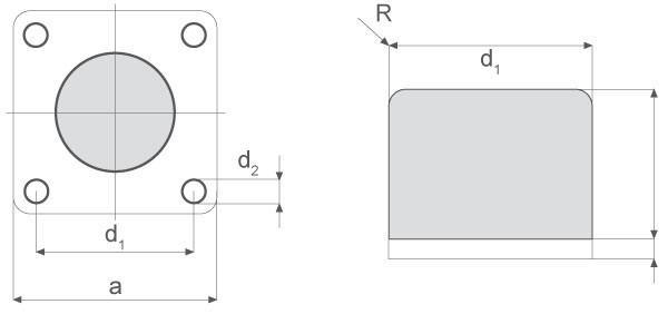 Gummi-Anschlagpuffer mit Grundplatte aus Stahl