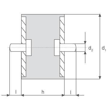 Gummi-Metall-Element, zylindrisch mit zwei Gewindebolzen