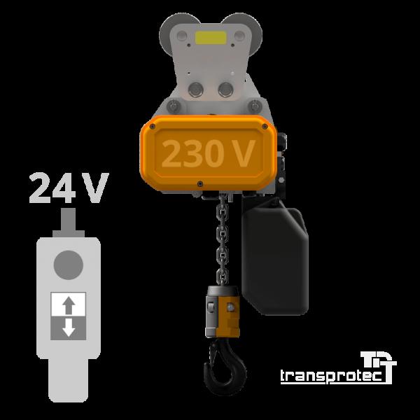 Elektrokettenzug, 230 V, mit Schützsteuerung 24 VAC, mit Rollfahrwerk